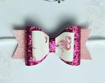 Flamingo Princess - Glitter Bow | Flamingo inspired Bow