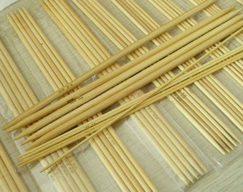 """11 Sizes 8"""" 20CM 5Pcs/Size Double Point Bamboo Knitting Needles , Weaving Needles"""