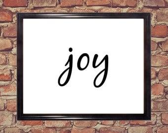 Joy, Word art, Digital prints, Digital download, Printable art