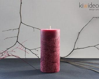 "Handmade Large Rustic Pillar Candle Dark Red 85 x 180 mm (3.34 x 7.08"")"