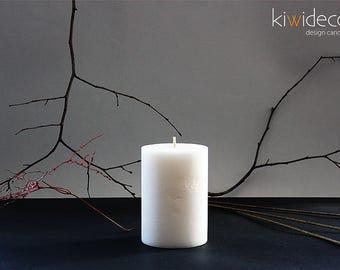 "Handmade Large Pillar Rustic Candle White 85x120mm (3.34 x 4.72"")"