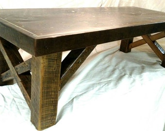 "60""x24""x18"" barnwood coffee table"