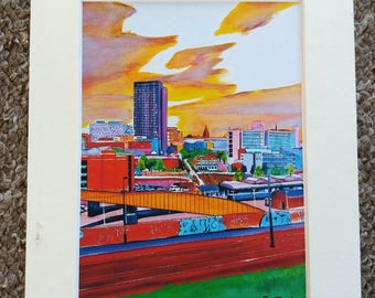 """Limited edition print - Sheffield City Centre from Park Hill Flats  - A3, A4 or 7"""" x 5"""" Print of an Original Painting by Bryan John"""