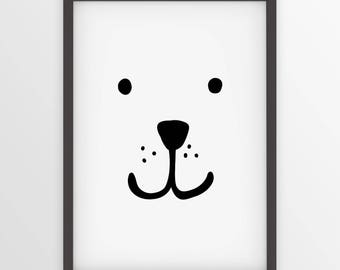 Wall Print - Printable Baby Polar Bear - nursery wall art - minimalist kids decor - playroom art digital decor