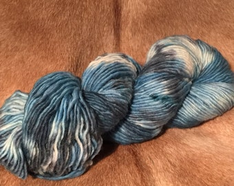 Handdyed varigated yarn - wool mohair worsted - DISCOUNTED