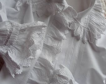 Antique French blouse cotton hand embroidered blouse French lace white cotton blouse  early 1900s