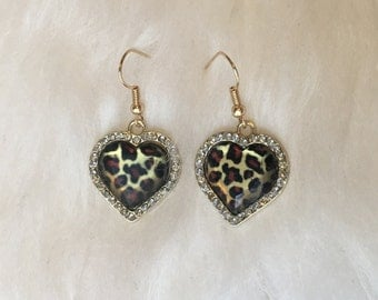 Cheetah Print / Leopard Print Rockabilly Heart Shaped Earrings w/ Rhinestones and Gold Accents