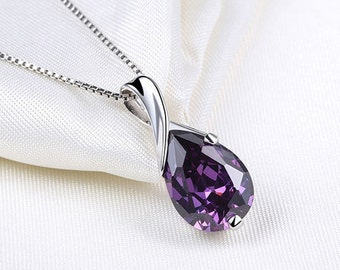 Womens crystal pendant necklace, Purple amethyst necklace, Silver plated necklace, 925 Sterling silver chain, Elegant fashion necklace F24