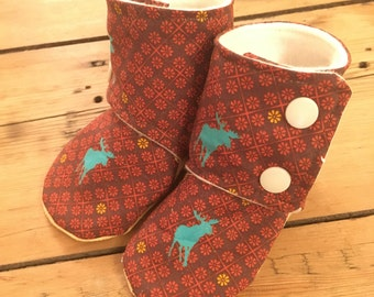 Toddler or baby booties / moose print/ organic bamboo fleece lined slippers 0-24 months