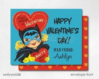 Vintage 1950s Batgirl Valentine's Day Cards, Cute Valentines for Girls, Kids Valentine Cards, Classroom Valentine Cards for Girls  DI-VAL63