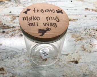 Dog Treat Jar--Treats make my tail wag