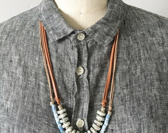 Sesame jasper and leather necklace