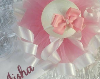 Girls pink ribbon trim tutu, with personalised top.