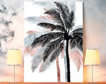 Rose Gold Silver Black Palm Tree Print, Tropical Print, Tropical Printable, Palm Downloads, Tropical Wall Poster, Palm Print, Tropical Art