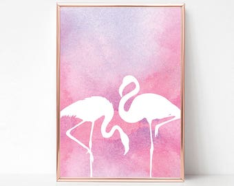 Printable Flamingo Decor Art, Pink Flamingo Print Art, Flamingo Party Decor, Tropical Bird Decor, Flamingo Wall Print, Flamingo Wall Art