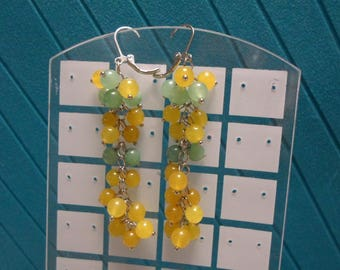 Yellow Jade and Green Nephrite Earrings