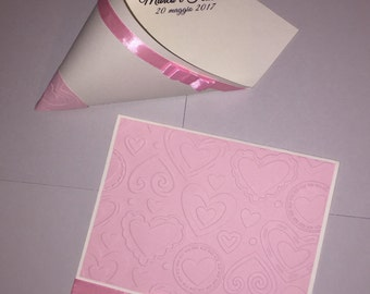 Handmade invitations rice port Cone