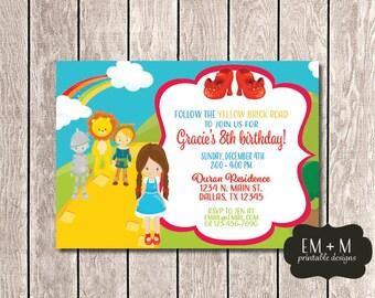 Wizard of Oz Birthday Invitation, Dorothy Party, Girl Birthday Party Invitation, Wizard of Oz Invitation, Follow the Yellow Brick Road
