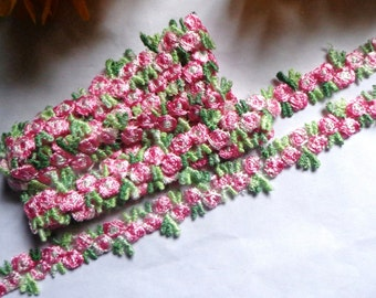 """embroidered 1/2"""" inch wide Venise Lace trim selling by the yard pink color"""