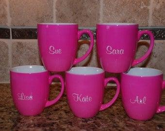 16 oz. Personalized Pink Ceramic Bistro Mug