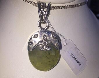 Prehnite pendant in silver