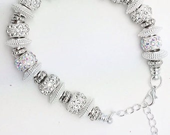 BRACELET - Crystal and Silver Plated BEAD Bracelet +FREE SHiPPiNG & Discounts*