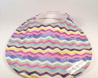 Bib - Rainbow Stripes (white terrycloth)