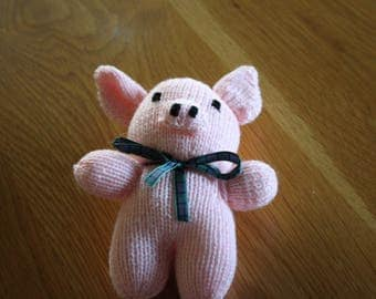 Hand Knitted Soft Toy Pig