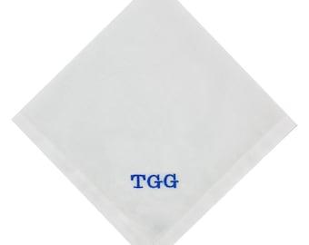 Personalised men's hemstitched handkerchiefs  - Monogrammed Handkerchief - Initial Handkerchief - Wedding Handkerchief