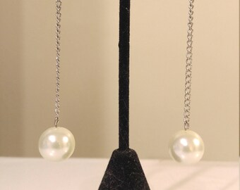 Vintage glass pearl chain earrings
