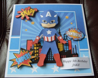 Handmade Personalised Boy's Birthday Card 8ins x 8ins