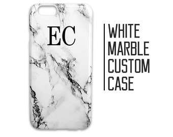 Customised White Marble Phone Case for iPhone 7 Plus 6 6s 5 5s 5c + Initials Custom