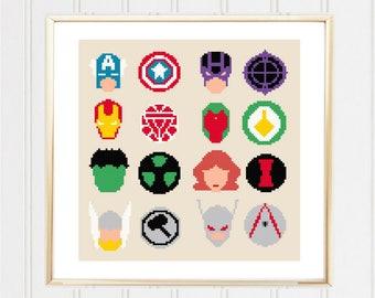 Avengers cross stitch pattern/avengers cross/marvel cross stitch/superhero cross/easy cross stitch/cross stitch heroes/#03-021