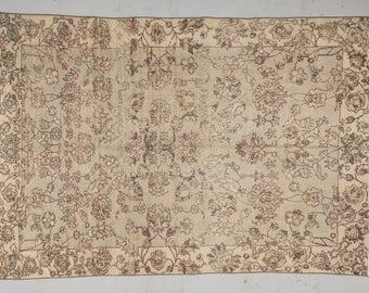 """5'4"""" x 7'7"""" SHABBY CHIC VINTAGE Overdyed Turkish Oushak Rug - 1940s Anatolian Handwoven Decorative Rug, Urban Rug, Bohemian Rug, Boho Rug"""