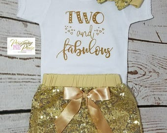 Second Birthday Outfit, Two and Fabulous Birthday Outfit, 2nd Birthday Outfit,  Gold Sequin Shorts, Gold Birthday Outfit