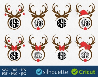 Reindeer Monogram Svg Christmas Monogram Svg Reindeer Antlers Svg Cut Files Cricut Christmas Designs Antler Monogram Border Svg Silhouette