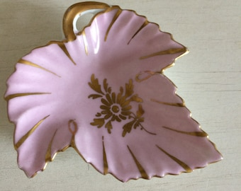 empty Pocket shape decoration LIMOGES porcelain fig leaf gold handmade