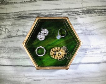 Ring Dish, Jewelry Dish, Ring Tray, Hexagon Ring Dish, Green Ring Dish, Jewelry Tray, Hexagon, Stained Glass Dish, Vanity Tray, Green Gold