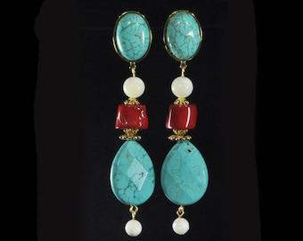 Earrings howlite tinged turquoise