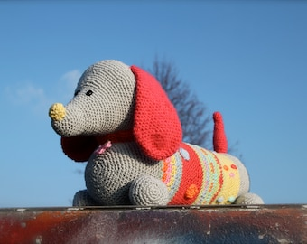 Crochet dachshund in happy colors