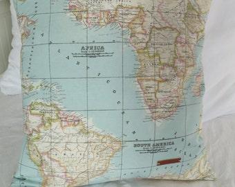 WORLD MAP PILLOW, inner cushion included, throw pillow, gift, atlas, kussen wereldkaart, world map, christmas