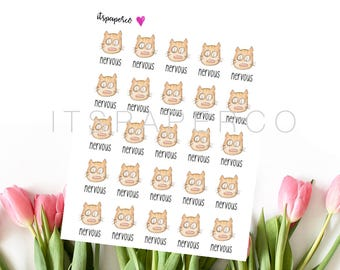 Nervous Cat Stickers - Bullet Journal Stickers - Planner Stickers - Text Stickers - Functional Stickers - FU012