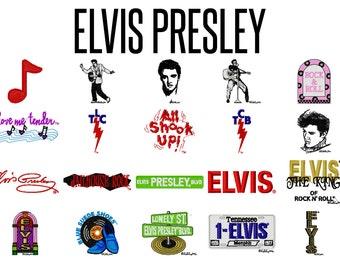 25 Elvis Presley Machine Embroidery Patterns, 4 Inch Hoop Designs, The King of Rock & Roll, Elvis Designs, Jukebox Music, Instant Download