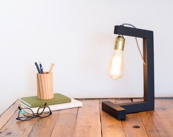 Wood lamp, edison lamp, handmade, table lamp, design lamp, desk lamp. Pisa Black Lamp by Belight Barcelona