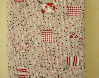 fabric book cover, cotton, handmade