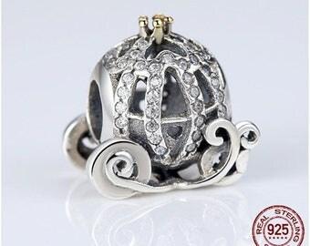 Exquisite Cinderella Pumpkin Carriage Charm, 925 Sterling Silver, Fit Pandora, Famous European Bracelet, DIY Jewelry