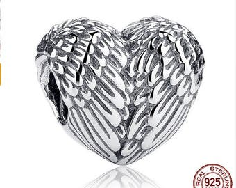 ANGELIC WINGS Heart, 100% Real 925 Sterling Silver, Fits Pandora, Famous European Snake Chain Bracelet, Large Hole, DIY Fashion