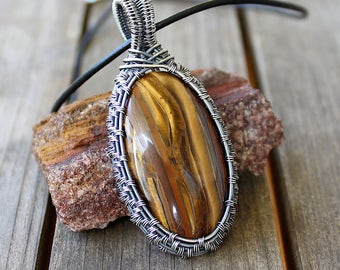Tiger's Eye Pendant / Wire Wrapped Pendant / Wire Wrapped Jewelry / Sterling Silver Pendant / Wire Woven Jewelry / Tiger's Eye Jewelry
