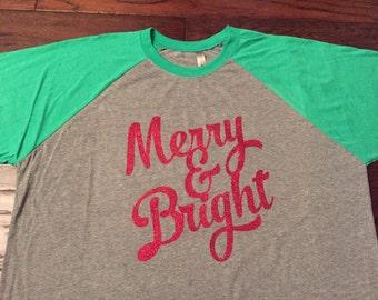 Christmas Merry and Bright Glitter Raglan Shirt