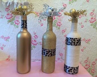 Set 3 altered bottles, gold, leopard print, sparkly